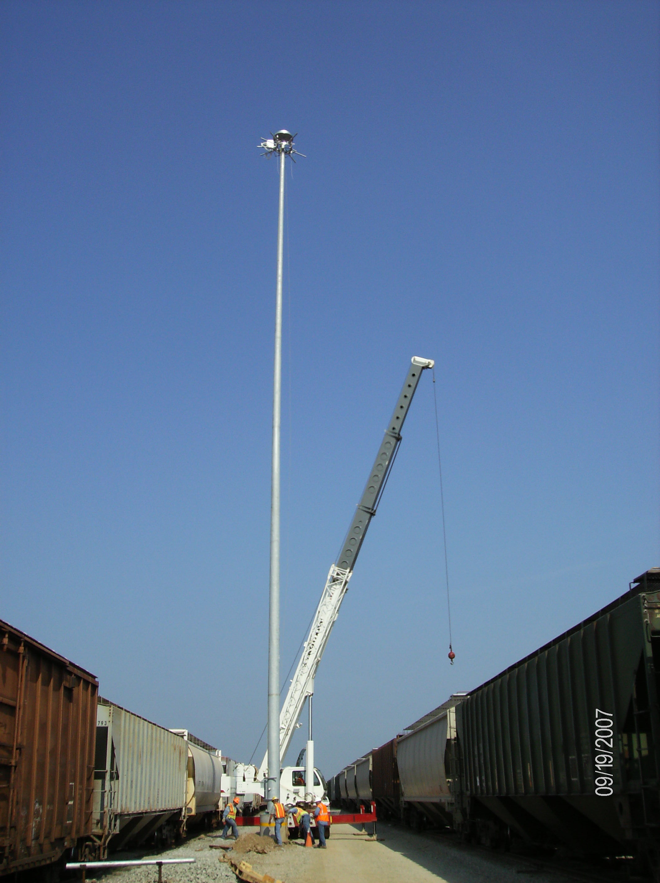 Erection of Hi-Mast Light Structures.
